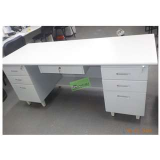 OFFICE TABLE 2 FIXED MOBILE PEDESTAL CABINET & CENTER DRAWER