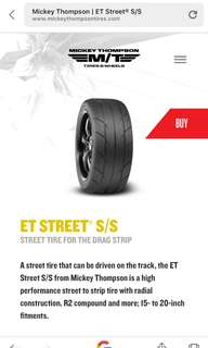 A street tire that can be driven on the track, the ET Street S/S from Mickey Thompson is a high performance street to strip tire with radial construction, R2 compound and more, 345/35/18, GTR, Bmw, Drag Tyres.