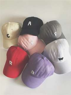 簡約F字母棒球帽子女夏天 明星 鴨咀帽太陽帽