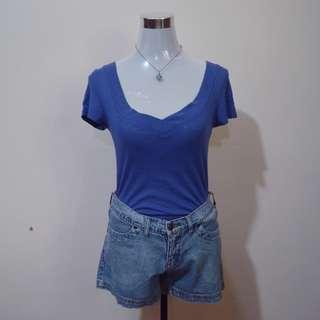 OLD NAVY Blue V-Neck Shirt