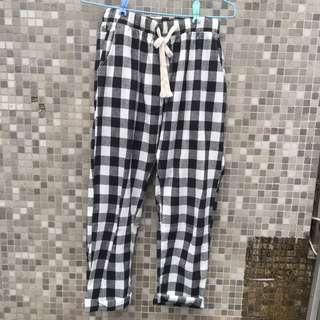 🚚 黑白格紋長褲