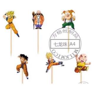 12 pcs Dragonball Goku Gohan Cupcake Topper Cake Toppers Birthday Party Decoration Baking Picks