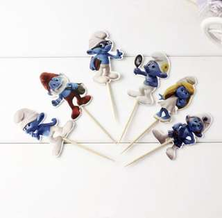 12 pcs Smurfs Cupcake Topper Cake Toppers Birthday Party Decoration Baking Picks