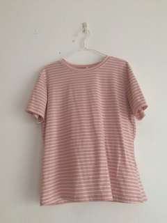 Soft pink striped tee #SUBANGJAYASWAP