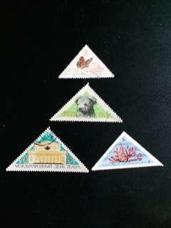 4個 已銷三角形郵票