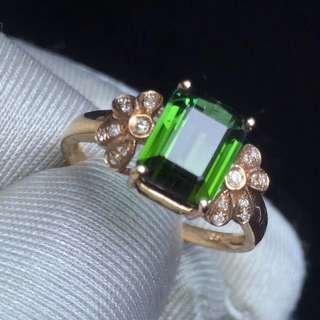[真金真鑽]18k金綠色碧壐戒指