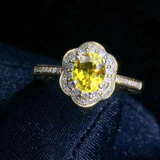 18k鑲嵌鑽石 橘黃色 黃藍寶戒指