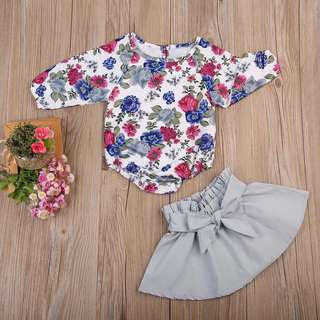 🚚 ✔️STOCK - 2pc PURPLE PINK FLOWERS LONG SLEEVES ROMPER TOP & GREY FLARE SKIRT SET NEWBORN BABY TODDLER GIRL KIDS CHILDREN CLOTHING