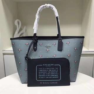 Coach Flamingo Reversible Tote & Pouch