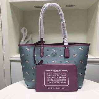 Coach Shark Reversible Tote & Pouch