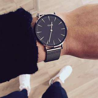 CLUSE LA VEDETTE MESH SILVER/BLACK荷蘭錶金屬錶帶 銀色/黑色38 mm 預購