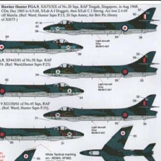 RSAF Hawker Hunter Decal 48 Scale Historic RAF Tengah 1968 FGA.9 XJ367/XX 20 Sqn S/Ldr A.J.Doggett RAF Tengah,  Singapore 1968  Top Aircraft In Picture Brand New Decal Available In September Place Your Order Now