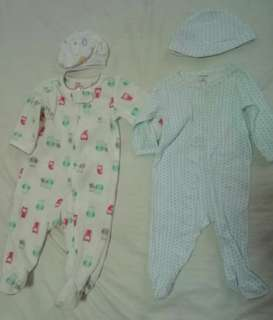 Carter's 3mos overalls with hat