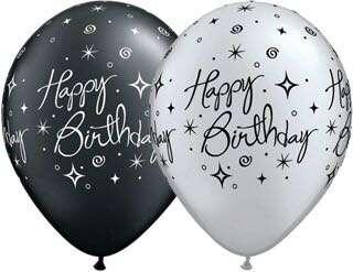 "11"" Birthday Elegant Sparkles Balloons (Helium Inflated)"
