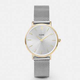 🚚 CLUSE MINUIT MESH GOLD/SILVER  荷蘭錶金屬錶帶 33 mm 預購