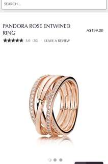 Pandora Rose Gold Ring Size 50