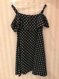 Dress polkadot/ dress hitam