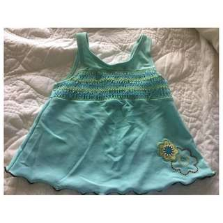 CARTER'S AQUA SWIMSIUT TOP (GIRLS) 18 M