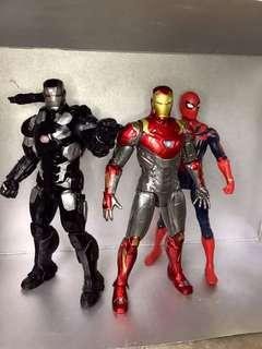 Marvel Figures, IronMan MK47, Iron Spider, Thor, Warmachine and Thanos