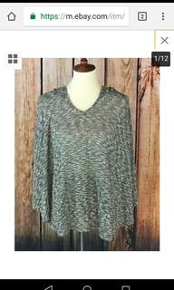 Rue 21 Womens Poncho Pullover One Size Green White Front Pocket Thin Knit Top
