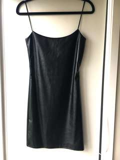 Pretty Little Thing PU Strappy Black Dress