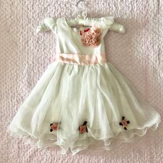Lovely White Kids Girl Party Dress