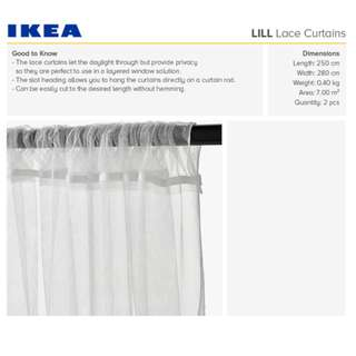IKEA LILL Lace curtains, 1 pair, white, 110x98 ""