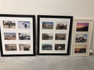 3x Photo Frames. Two Large Black & One White