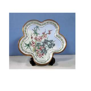 Antique Chinese Famille Rose Canton Plate Enameled Porcelain Brass Qing Period