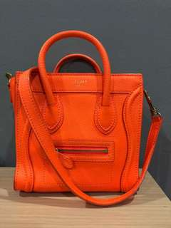 Celine Calfskin Nano Luggage in Bright Orange