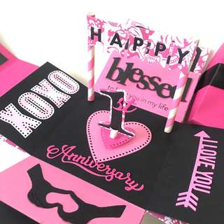 Happy 1st Anniversary Explosion Box Card in black and hot pink