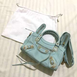 Balenciaga city mini ghw mint green premium not original