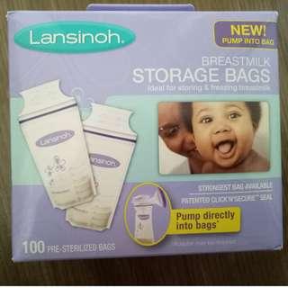 Lasinoh milk bag (100pcs) FREE 3 pairs of disposable breast pads!
