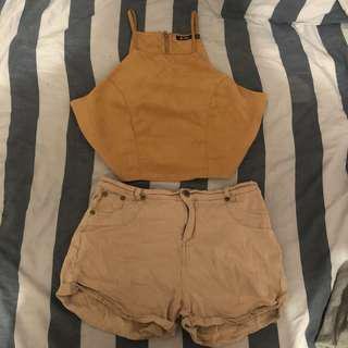 Caramel half top + shorts.