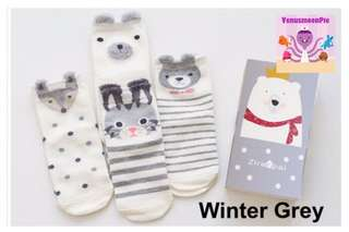 4pcs Kid's Socks (winter grey)