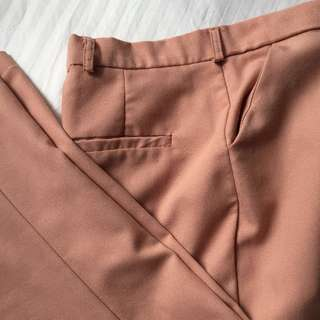 Nude Pink Highwaist Slim Fit Trousers