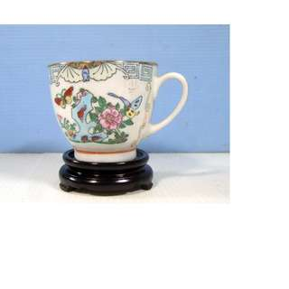Antique Chinese Canton Famille Rose Cup Stand Hand Painted circa: 1920s