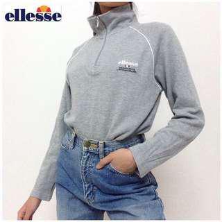 Ellesse Turtle Neck Pullover Sweater Grey Long Sleeves Women M