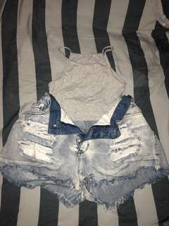 Light blue denim shorts + grey crop top