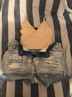 Cream half top + light blue denim shorts