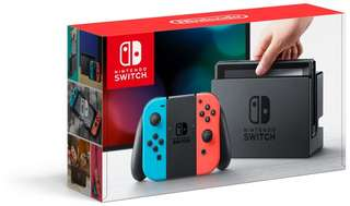 Nintendo Switch Console Neon Red/Neon Blue 1 Games Bundle