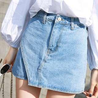 春夏新款牛仔短褲 高腰百搭學生A字半身短裙褲 Size : M