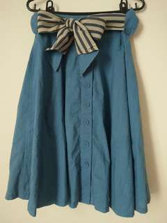 🚚 藍色排扣過膝裙(附腰帶) #女裝半價拉