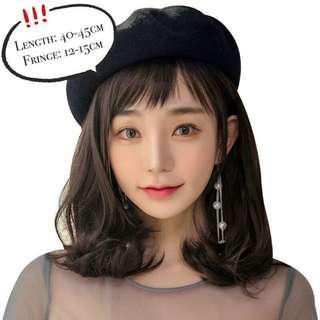 [Pre-order] Korean Style Short Wavy Shoulder-Length Hair Wig | Stylish Hair Wig Hat hair loss cosplay
