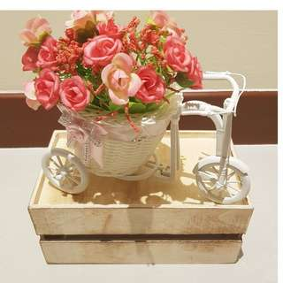 Dessert Table Props Rental_BowKnot Rattan Tricycle Deco with pink Artificial Flower