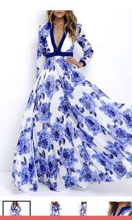 BNWT Floral Printed Blue & White Roses V Neck Long Sleeves Maxi Dress XL