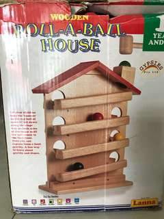 Wooden roll-a-ball house