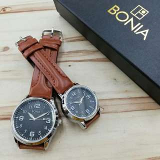 Bonia Couple Set Leather Watch