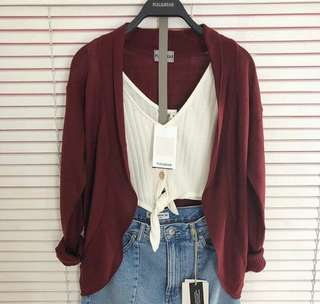 OUTER CARDI PULL&BEAR (MAROON)