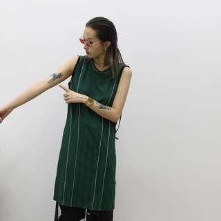 VM 2018女裝新款 原創夏季 個性運動風 線條設計 長款無袖背心裙 2色